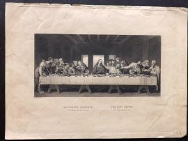 A. H. Payne after Leonardo da Vinci C1850 Antique Print. The Last Supper